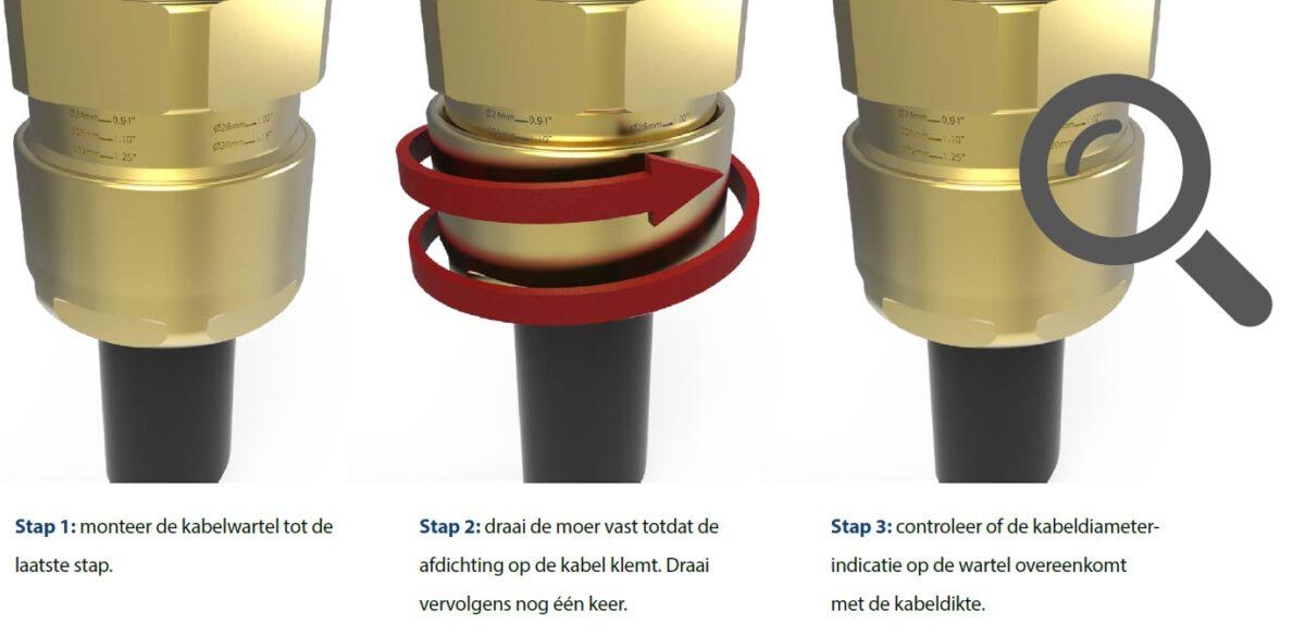 De Hawke kabelwartel-indicator voorkomt het te strak aandraaien van de kabelwartel